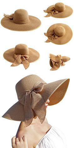 47dc7ea49c03c Lanzom Womens Big Bowknot Straw Hat Floppy Foldable Roll up Beach Cap Sun  Hat UPF 50+ (Khaki)
