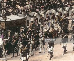 Feast of Corpus Christi procession. An annually major event of the Austro-Hungarian Empire. Emperor Franz Joseph I. escorted by royal pages and life guards. Vienna. Hand-colored lantern slide. Around 1910.