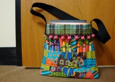 Crayon Tote... Don't put the crayon slots on the inside of the bag they are hard to get to... How do I know? Don't ask!