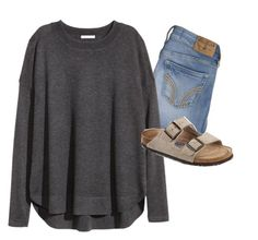 Birkenstocks by aud1 on Polyvore featuring H&M, Birkenstock and Hollister Co.