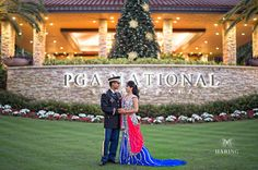 Anushree + Vivek take a gorgeous shot in front of the Resort #PGAweddings photo by - Haring Photography