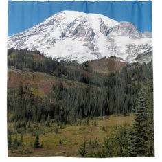 Mount Rainier Scenic Landscape Photo Shower Curtain - photography gifts diy custom unique special