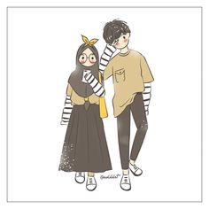 Image may contain: text Cute Couple Drawings, Cute Couple Art, Anime Love Couple, Chibi Couple, Couple Cartoon, Cute Muslim Couples, Cute Anime Couples, Cartoon Styles, Cartoon Art