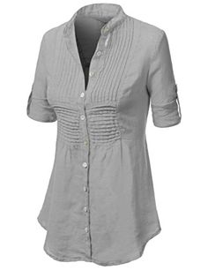 J.TOMSON Womens Rayon 3/4 Roll-Up Sleeve Button Down Shirt