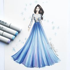 """A winter queen ❄️❄️💙💙. This original, (which is 8x10"""" sketched with @copicmarker) is available for purchase. Please email info@hnicholsillustration.com for more info. #fashionsketch #fashionillustrator #fashionillustration #fashionart #boston #bostonblogger #copicart #copicmarkers #couture #hnicholsillustration #illustration #fashiondesign"""