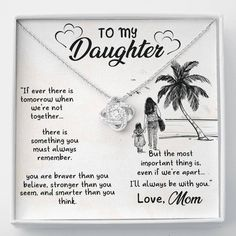 Daughter Mom Jewelry | Gift Message Card | Love Knot Necklace | Cute Daughter Saying | Artisan Pendant | Daughter Christmas #daughterjewellery #sweetdaughtergift #lovefordaughter Sister In Law Gifts, Gifts For Mom, Love Mom, Daughter Love, Mom Jewelry, Jewelry Gifts, Remembering Dad, Daughter Necklace, Knot Necklace