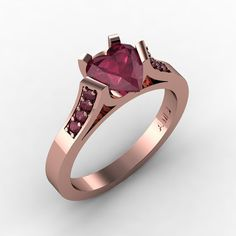 Gorgeous 14K Rose Gold 1.0 Ct Heart Bordo Red by DesignMasters, $779.00