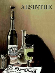 """'""""ABSINTHE"""" Liquor Aperitif Abstract Print' Photographic Print by posterbobs Vintage Advertisements, Vintage Ads, Vintage Posters, Deviant Art, Green Fairy Absinthe, Cat Drinking, Cat Posters, Witch Art, Abstract Print"""