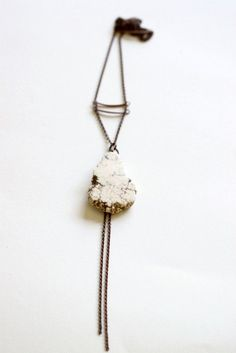 NATURAL- Raw white turquoise stone Necklace- antiqued copper chain, copper brass tubes