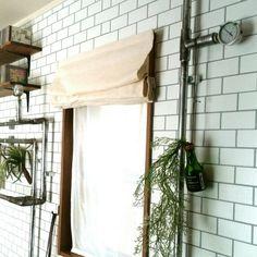 macaさんの、ブログよかったら見てみて下さい♩,塩ビ管DIY,壁紙はりかえ,タイル風の壁紙,インダストリアル,男前,DIY,カーテン,壁/天井,のお部屋写真