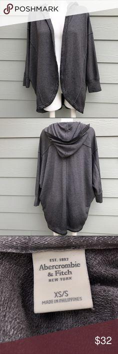 Abercrombie & Fitch Grey Cardigan Wrap W/ Hood In good condition Abercrombie & Fitch Sweaters Cardigans
