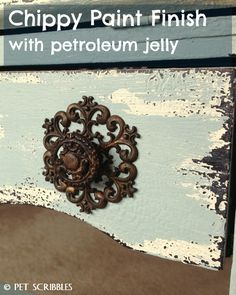 Chippy Paint Antique Secretary Desk using petroleum jelly and chalky finish paints