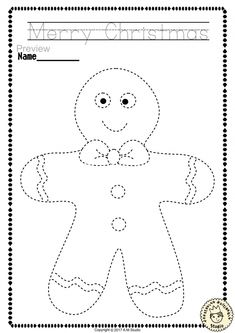 Help your child develop their pre-writing and fine motor skills with Christmas Trace and Color Pages This .pdf file includes 14 Christmas themed Tracing and Coloring Worksheets. This is a perfect activity for your young artists. Christmas Worksheets Kindergarten, Preschool Christmas Activities, Gingerbread Man Activities, Christmas Crafts For Kids, Xmas Crafts, Preschool Crafts, Preschool Activities, Christmas Fun, Gingerbread Man Crafts