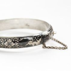 Vintage Sterling Silver Siam Flower Hinged Bracelet - Siamese Goddess Thai Niello Dark Gray Statement Floral Bangle Jewelry by Maejean Vintage on Etsy