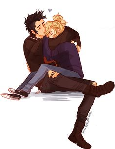 PJO - Percy Jackson x Annabeth Chase - Percabeth Percy Jackson Annabeth Chase, Percy Jackson Fan Art, Percy And Annabeth, Percy Jackson Books, Percy Jackson Fandom, Percy Jackson Tumblr, Percabeth, Anime Couples, Cute Couples