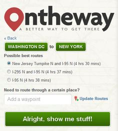 OnTheWay app - what a fabulous idea! A definite must try for the next road trip. IEnter your starting point and destination and in theory, this app will suggest all sorts of things to do, see, places to stop, eat and play along the way. Awesome if it delivers! (onthewayapp.com)