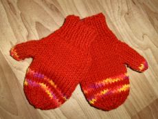 Bev's 2-needle mittens for kids ages 3-5 (6-8)(9-11)