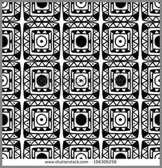 Abstract decorative ethnic seamless pattern in black and white Aztec monochrome ornament Tribal art Lace, folk, geometric background Circles Squares Flowers Endless print texture - vector