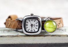 Real LEAF & CORK Watch. Stainless steel watch by VillaSorgenfrei