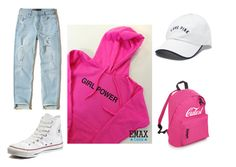 """Girls Power Hoodie outfit"" by greta-iohanson ❤ liked on Polyvore featuring Hollister Co., Converse and Victoria's Secret"