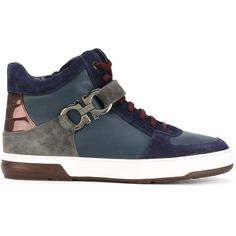 Salvatore Ferragamo panel hi tops (3.260 BRL) ❤ liked on Polyvore featuring men's fashion, men's shoes, men's sneakers, blue, mens velcro high top sneakers, mens blue sneakers, mens high top shoes, mens velcro sneakers and mens high top sneakers