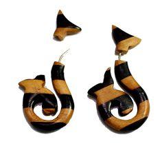 (sku no:sew_55b) A Pair of Brown Black Strap Design Wooden Boho Hippie Earrings sew_55b.please visit our website www.krishnamartindia.com