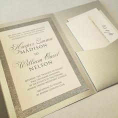 50% OFF! Silver or Gold Metallic Glitter Wedding Invitation Suites