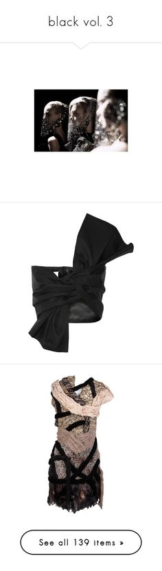 """""""black vol. 3"""" by dorothiable ❤ liked on Polyvore featuring people, photos, pictures, images, backgrounds, tops, maison martin margiela, wrap, wrap top and bandeau bikini top"""