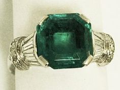 A fine and impressive 3 carat Colombian emerald, diamond and platinum, Art Deco style ring; an addition to the AC Silver jewellery range  http://www.acsilver.co.uk/shop/pc/3-0-ct-Emerald-and-Diamond-Platinum-Ring-Art-Deco-Style-Vintage-1940-168p1168.htm#