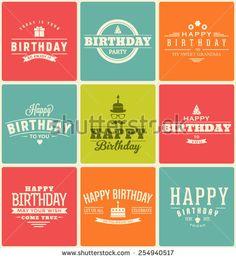 Typographic Happy Birthday Themed Label Design Set - stock vector