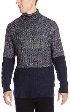 Calvin Klein Jeans Men's Color Block Cable Sweater, Navy Armada, XX-Large ❤ Calvin Klein Jeans Men's Collection