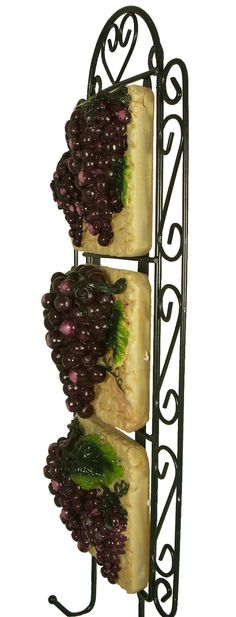 Grape Kitchen Items | Grape Vine Wall Plaque Vineyard Fruit Iron Decor