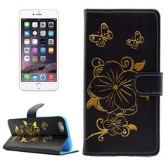 [$2.32] For iPhone 6 Plus & 6s Plus Bronzing Butterfly Pattern Horizontal Flip PU Leather Case with Holder & Card Slots & Wallet(Black)