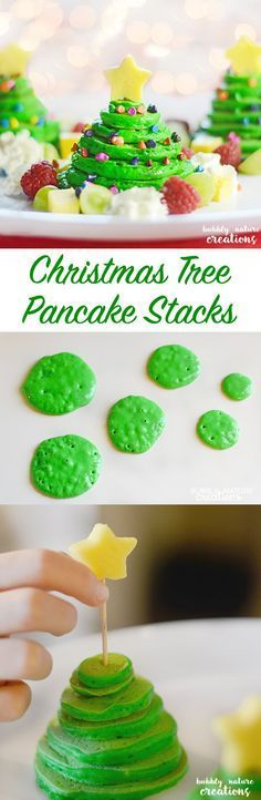 Christmas Tree Pancake Stacks w Almond flavored panackes. These are such a great Christmas breakfast idea or easy appetizer for the holidays!