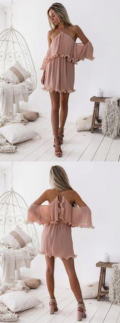 chic cross neck short blush chiffon homecoming dress with ruffles#homecomingdresses