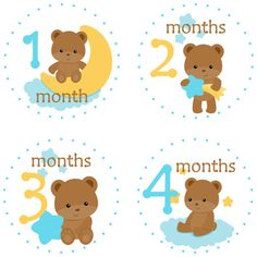 Baby Bear Moon and Stars Monthly Milestone Stickers Yellow New Sticker, Sticker Paper, New Grandparents, Baby Month Stickers, Teddy Bear Baby Shower, Photo Prop, Baby Clip Art, Babies First Year, Baby Milestones