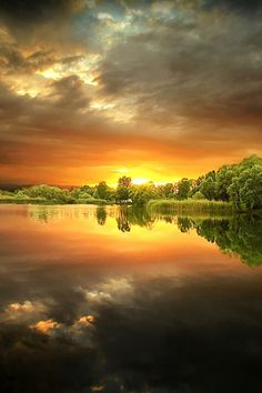 Beautiful sunrise over a pond