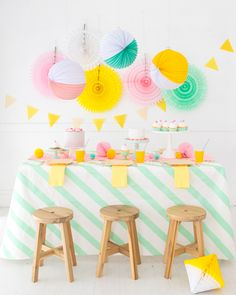 Striped Washi Tape Tablecloth (Oh Happy Day! Birthday Party At Park, Rainbow Birthday Party, Birthday Party Themes, Pink Birthday, Party Centerpieces, Diy Party Decorations, Decoration Table, Washi Tape Crafts, Diy Crafts