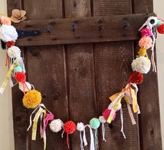 Fabric Scrap Pom Pom Garland,Banner- 4 ft. on Etsy, $26.00