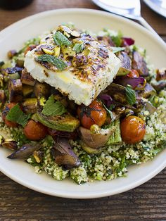 Simple Dinners 05 / Grilled Vegetable Salad with Feta and Tabbouleh - Spicyicecream - Cooking Recipes Grilled Vegetable Salads, Roasted Vegetable Salad, Grilled Vegetables, Veggies, Grilled Tofu, Healthy Recipes, Veggie Recipes, Vegetarian Recipes, Cooking Recipes