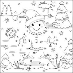 Connect the Dots and Coloring Page with Ginger Man, Commercial Use Allowed Christmas Worksheets, Christmas Math, Christmas Party Games, Christmas Activities, Christmas Crafts For Kids, Christmas Colors, Winter Christmas, Connect The Dots, Christmas Coloring Pages