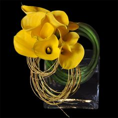 Calla Lilies/Manipulated Willow Arrangement, via flowers of the world