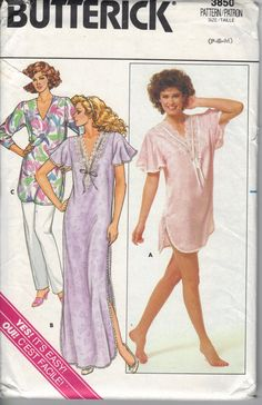 1980's Women's Nightshirt and Pants, Butterick 3850 Sewing Pattern, Size P-S-M