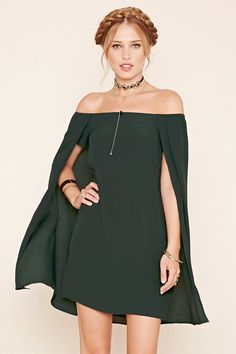 Forever 21 Contemporary - A woven shift dress featuring off-the-shoulder short sleeves, elasticized shoulders, and a draped cape design.
