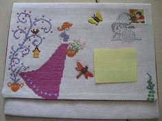 An embroidered envelope. I think it actually went through the mail!