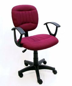 """Burgundy Fabric Office Chair w/Arms, Gas Lift & Great Student or Computer Chair by The Green Group. $79.99. Pneumatic Gas Lift for Instant Height Adjustment. 360 Degree Swivel Rotation. High Seat Back with Passive Lumbar Support. Extra-Thick Contoured Seat Padding. Ergonomic """"Typing Style"""" Armrests. This chair, while modern and stylish, is designed for maximum comfort. This chair has a complete range of motion and is perfect for students or home offices. It swivels in a comp..."""