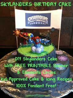 """Skylanders Birthday Cake. DIY Construction, Free Printable Banners and """"Elements,"""" & Great Recipes (100% Fondant Free!)"""