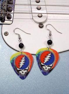 Grateful Dead guitar pick earings