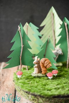 Tutorials for making three different variations of moss covered dessert display stands for a woodland party, using FloraCraft® Make It: Fun® Foam Discs. Fast and easy, too!
