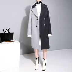 Two Tone Colored Wool Coat